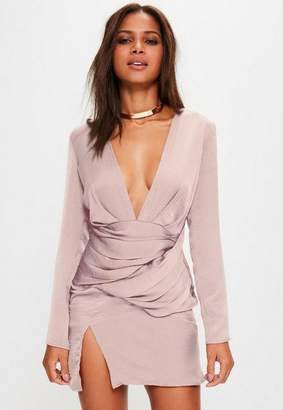 Missguided Pink silky long sleeve panelled shift dress, Violet