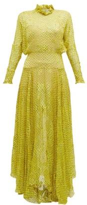 Preen by Thornton Bregazzi Mary Ruffle Neck Devore Maxi Dress - Womens - Yellow