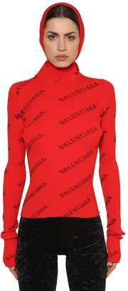 Balenciaga Hooded Rib Knit Turtleneck Sweater