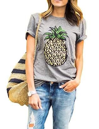 ZAWAPEMIA Womens Pineapple Tshirt Juniors Short Sleeve Summer Tee Tops L 58560f4e52a9