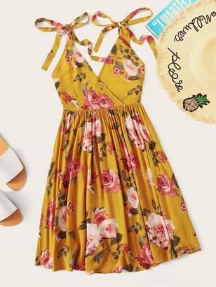Shein Knot Strap Backless Floral Print Wrap Dress
