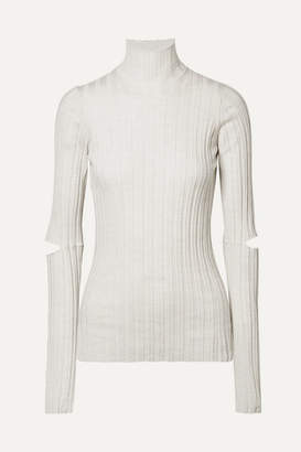 Helmut Lang (ヘルムート ラング) - Helmut Lang - Cutout Ribbed Wool Turtleneck Sweater - Ivory