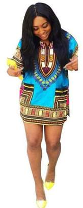 Yoyorule Women African Print Casual Plus Size Above Knee Mini Dress