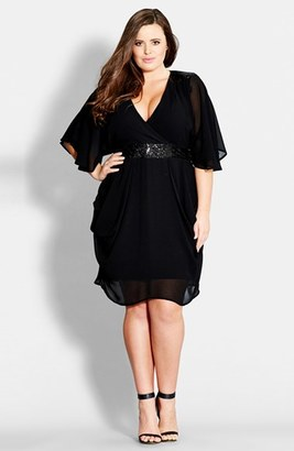 Plus Size Women's City Chic Sequin Wrap Front Dress $99.95 thestylecure.com