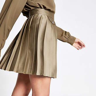 River Island Khaki pleated mini skirt