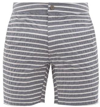Onia Calder Striped Seersucker Swim Shorts - Mens - Charcoal