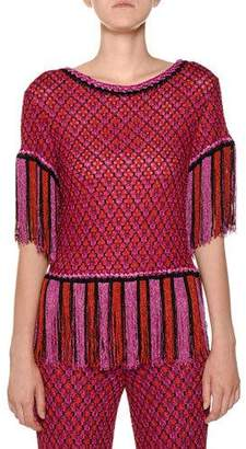 Missoni Short-Sleeve Fringe-Hem Multicolor Knit Top