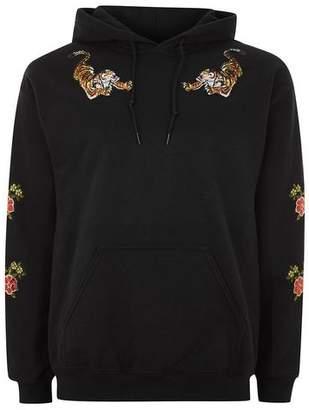 Topman Mens Black Sequin Embroidered Hoodie