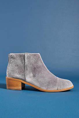 Anthropologie Rounded-Toe Velvet Ankle Boots