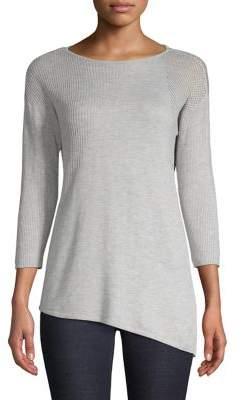 INC International Concepts Petite Asymmetric Mixed-Knit Sweater