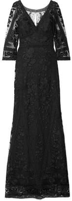 Marchesa Guipure Lace And Embroidered Tulle Gown - Black