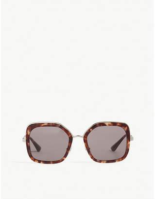 Prada Womens Black Havana Print Pr57Us Square-Frame Sunglasses 90121ef00d
