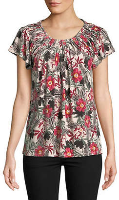 Style&Co. STYLE & CO. Floral-Print Pleated Neck Top