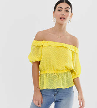 Bardot Lost Ink Petite Top In Textured Fabric