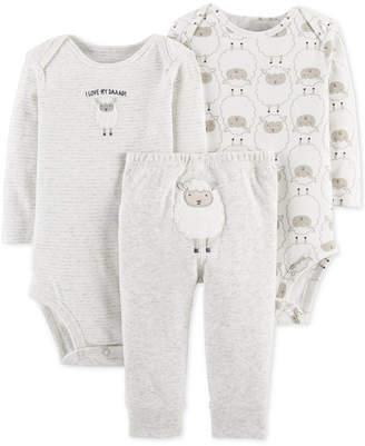 Carter's Baby Boys or Girls 3-Pc. Sheep-Print Cotton Bodysuits & Pants Set
