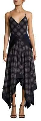 Diane von Furstenberg Scarf Hem Silk Midi Dress