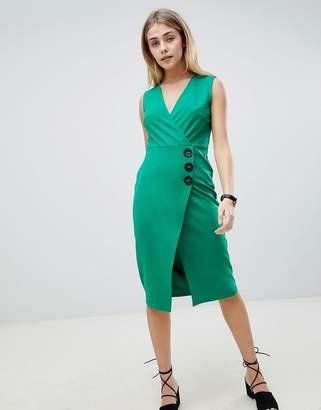 Asos DESIGN v neck wrap dress with button detail