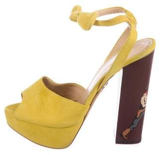 Charlotte Olympia Round-Up Suede Sandals