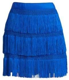 Alberta Ferretti Tiered Fringe Skirt