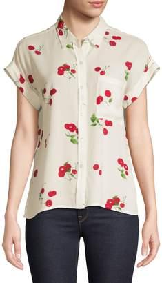 Rails Cherry-Print Cap-Sleeve Shirt