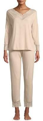 Zimmerli Poetic Botanicals Lace-Trim Pajama Set
