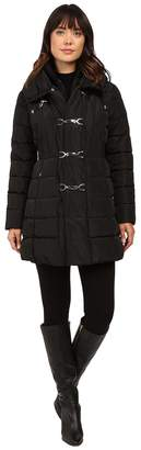 Jessica Simpson Three Clasp Breasted Down with Pillow Collar Women's Coat