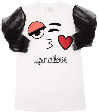 Fendi Emoji Print Cotton Jersey & Tulle Dress