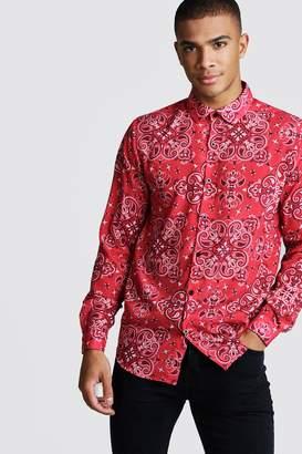 boohoo Long Sleeve Red Bandana Design Shirt