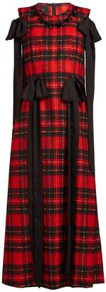Simone Rocha Beaded and bow-trim tartan georgette dress