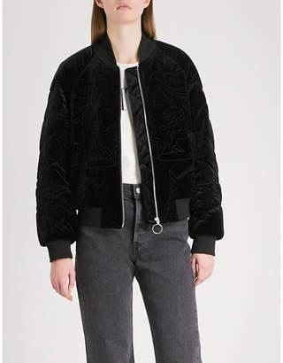Mo&Co. Lady Ocean padded velvet bomber jacket