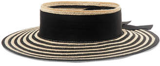 Eugenia Kim Lettie Grosgrain-trimmed Striped Straw Boater - Black