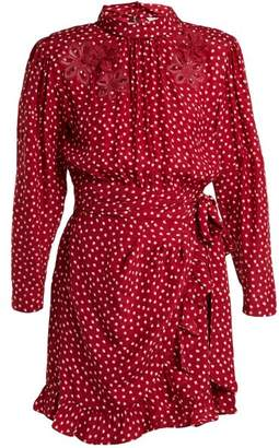 Rebecca Taylor Heart Print Silk Dress - Womens - Burgundy Print