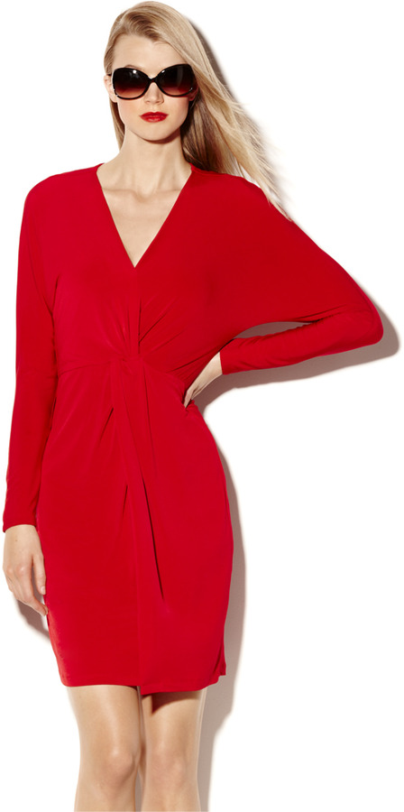 Vince Camuto Long Sleeve Faux Wrap Dress