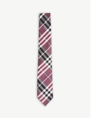 Burberry Check modern-cut silk-blend tie