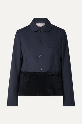 Comme des Garcons Velvet-paneled Wool Jacket - Midnight blue