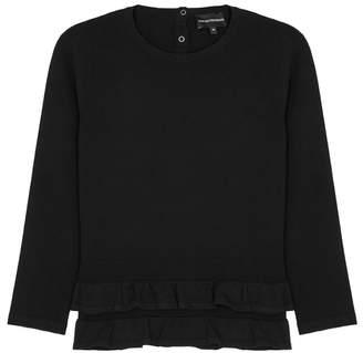 Emporio Armani Black Pleated Jersey Jumper