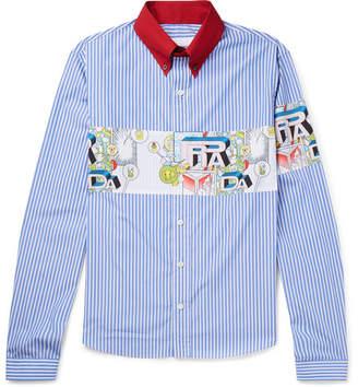 Prada Printed Striped Cotton-Poplin Shirt