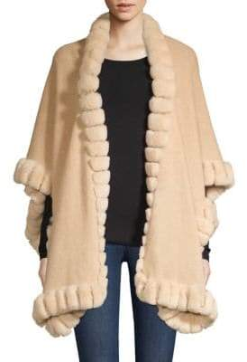 Glamour Puss Glamourpuss Oversized Rabbit Fur-Trim Cashmere Cape