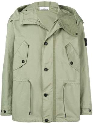hooded compass badge jacket