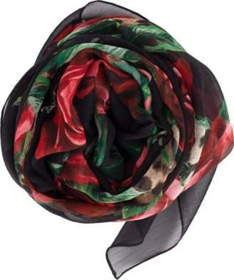 Dolce & Gabbana Rose Leopart Print Scarf