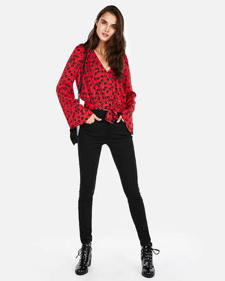 Express Printed Wrap Bell Sleeve Top