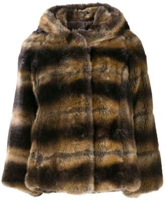 Tagliatore faux fur hooded jacket