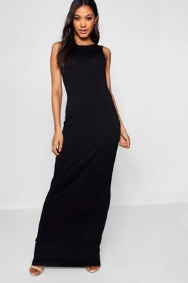 boohoo Phoebe Racer Front Basic Jersey Maxi Dress
