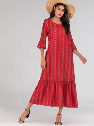 Shein Aztec Print Flounce Sleeve Maxi Dress