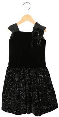 Leon Fleurisse Jewel-Embellished Silk Dress