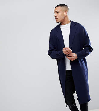 Asos TALL Longline Knitted Duster Jacket in Navy