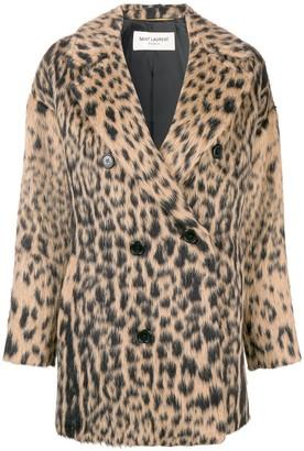 Saint Laurent double-breasted leopard coat