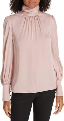 Milly Annabel Back Cutout Silk Blend Blouse