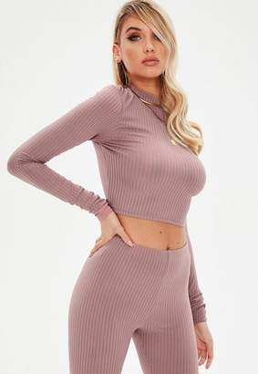 Missguided Pink Ribbed High Neck Crop Top