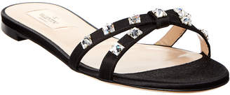 Valentino Rockstud Glam Satin Slide Sandal